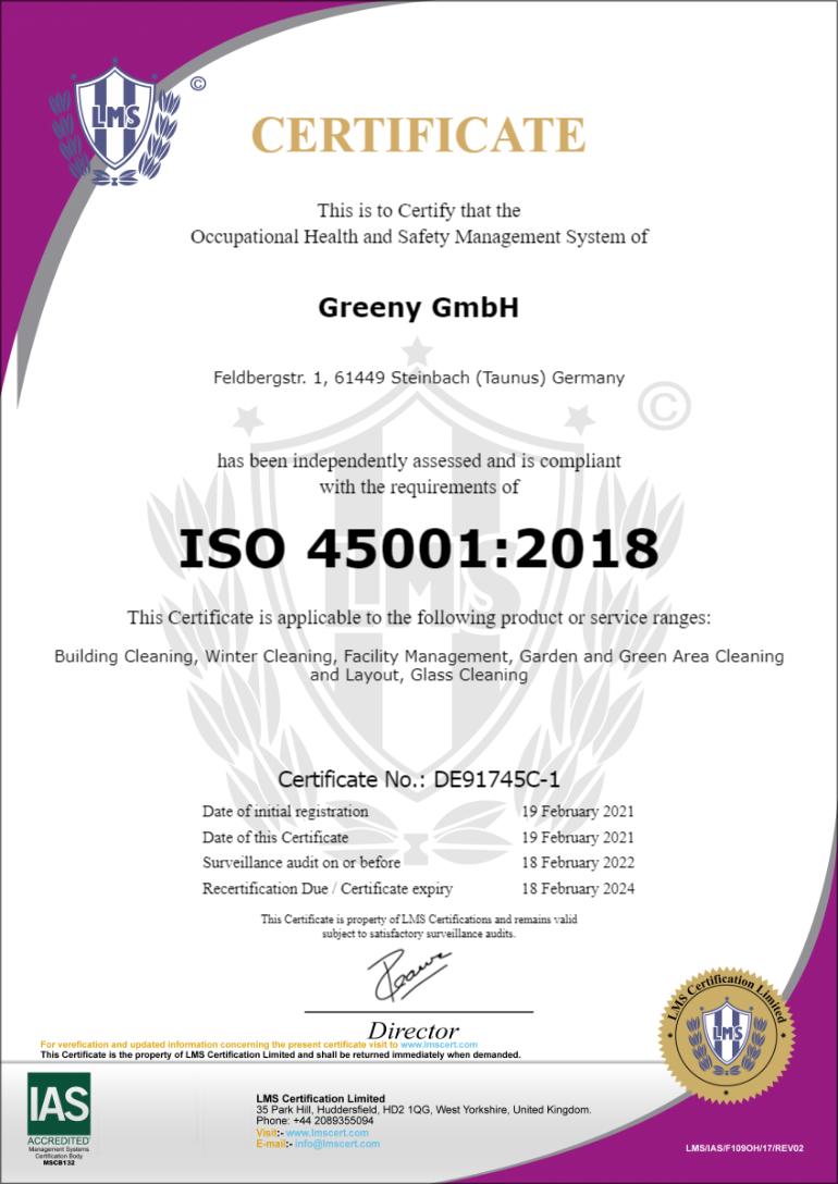 Greeny GmbH 45001 2021