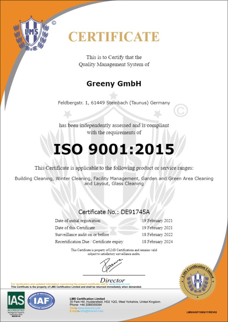 Greeny GmbH 9001 2021